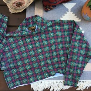 Vintage 90s Cropped Plaid Turtleneck Sweater